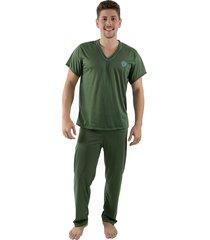 pijama linha noite manga curta verde escuro
