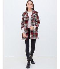 motivi cappotto fantasia maxi check donna rosso
