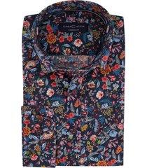 casa moda overhemd bloemenprint donkerblauw