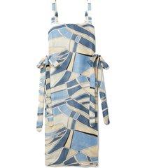 este tie-detailed printed cotton-blend gauze tunic