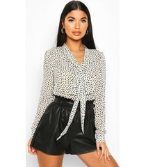 petite printed pussy bow blouse, white