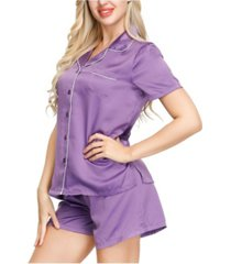 ink+ivy women's short sleeve notch collar pajama top and short set