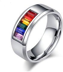 anello all'ingrosso del cubo del rhinestone dell'anello dell'arco dell'acciaio inossidabile di modo 8mm per lui