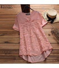 zanzea mujeres más tapa del tamaño floral tee camiseta con cuello en v de la llamarada básico sólido túnica de la blusa -rosado