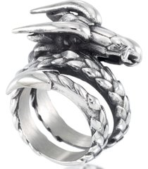 andrew charles by andy hilfiger men's dragon coil ring in stainless steel