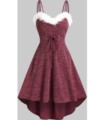 fluffy trim tie waist dip hem knitted cami dress