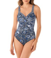 miraclesuit women's province seraphina one-piece swimsuit - blue - size 14