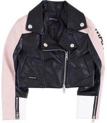 marcobologna logo sleeve biker jacket