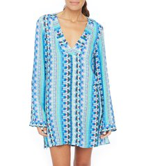 women's la blanca global jive cover-up tunic, size x-large - blue/green