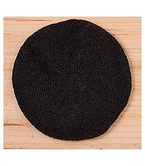 100% alpaca beret, 'parisian andes in black' (peru)
