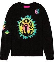 paint shroom garden pullover sweater black