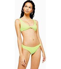 neon yellow velour knot high leg bikini bottoms - lime