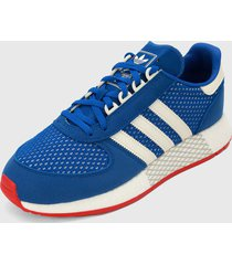 tenis lifestyle azul-blanco adidas originals marathon tech
