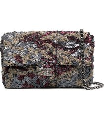 chanel pre-owned classique sequinned shoulder bag - brown