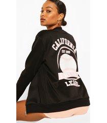 california slogan back print bomber jacket, black