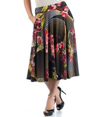 24seven comfort apparel women's plus size floral midi skirt