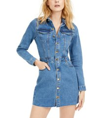 guess long-sleeve fitted denim dress