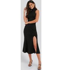 na-kd jacquardstickad kjol med slitsdetalj - black