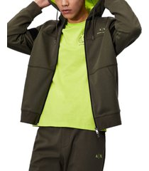 drawstring neon logo zip-up sweatshirt