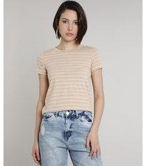 blusa feminina básica listrada manga curta decote redondo bege