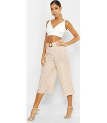 tonal stripe belted wide leg culottes, sand
