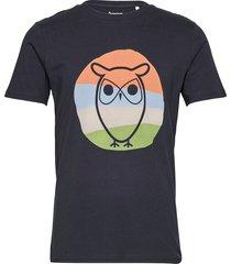 alder colored owl tee - gots/vegan t-shirts short-sleeved blå knowledge cotton apparel