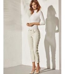 spodnie skórzane białe