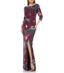 women's kay unger floral-print gown
