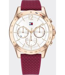 tommy hilfiger women's rose gold sport watch wi red silicone strap burgundy -