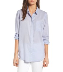 women's treasure & bond drapey classic shirt, size medium - blue