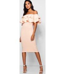 bardot layered frill detail midi dress, blush