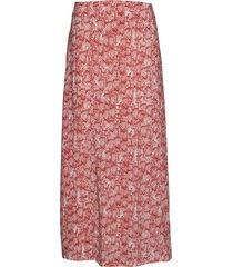 skirt long woven fab knälång kjol rosa taifun