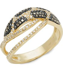 14k yellow gold black & white diamond cutout ring