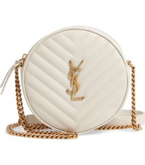 saint laurent jade matelasse leather crossbody bag - white