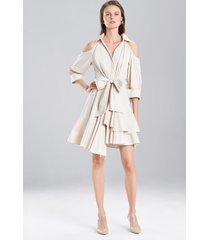 coated cotton cold shoulder dress, women's, white, 100% cotton, size 0, josie natori