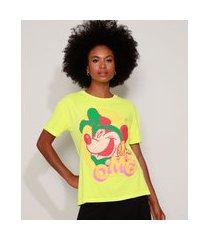"camiseta feminina ampla minnie omg"" manga curta decote redondo verde neon"""