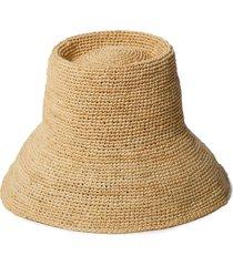 janessa leone felix raffia bucket hat, size small in natural at nordstrom