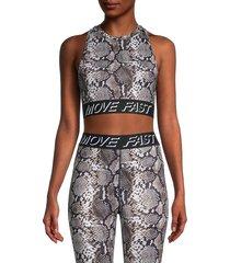 pam & gela women's snakeskin-print cropped top - natural - size xs