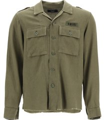 amiri cotton and cashmere military shirt