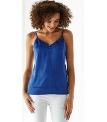 camiseta de tirantes con cuello en v y tirantes ajustables azules de yoins basics