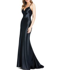 women's ieena for mac duggal corseted satin gown, size 10 - black