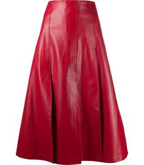 a.w.a.k.e. mode buttoned leather-effect skirt - red