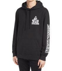 men's allsaints troglodyte graphic hoodie, size small - black