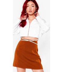 womens take a short cut high-waisted mini skirt - chocolate