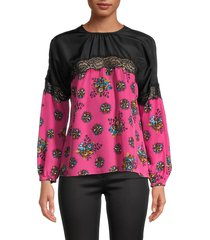 redvalentino women's silk & lace floral top - magenta - size 38 (6)