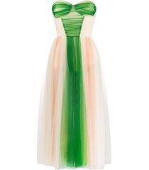 elisabetta franchi tulle bustier prom dress - green