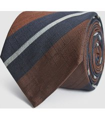 reiss bari - silk blend striped tie in navy/ bordeaux, mens