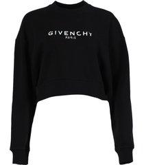 cropped contrasting logo sweatshirt