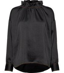 ines, 921 solid sheen cady blouse lange mouwen zwart stine goya