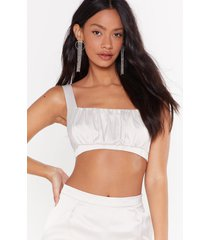 womens what's the ruche satin ruched bra top - oyster
